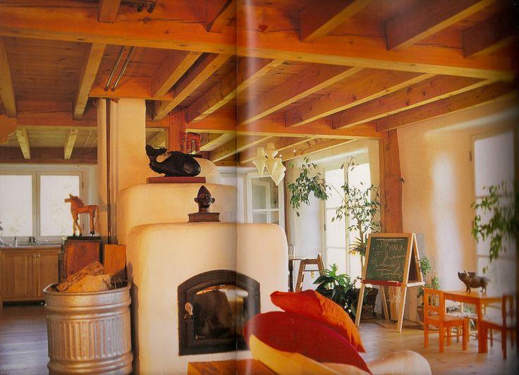 Straw bale interior. From Catherine Wanek's The New Strawbale Home.