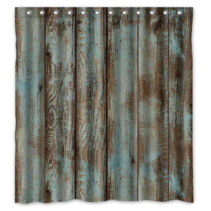 Bathroom Welcome!Waterproof Decorative Rustic Old Barn Wood Art Shower Curtain  #ShowerCurtain