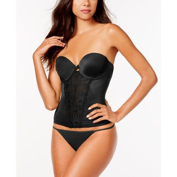 Maidenform Super Sexy Strapless Floral Lace Push-Up Bustier MFB100 ($68) ❤ liked on Polyvore featuring intimates, black, lace bustier, sexy bustier, floral bustier, maidenform and maidenform bustier