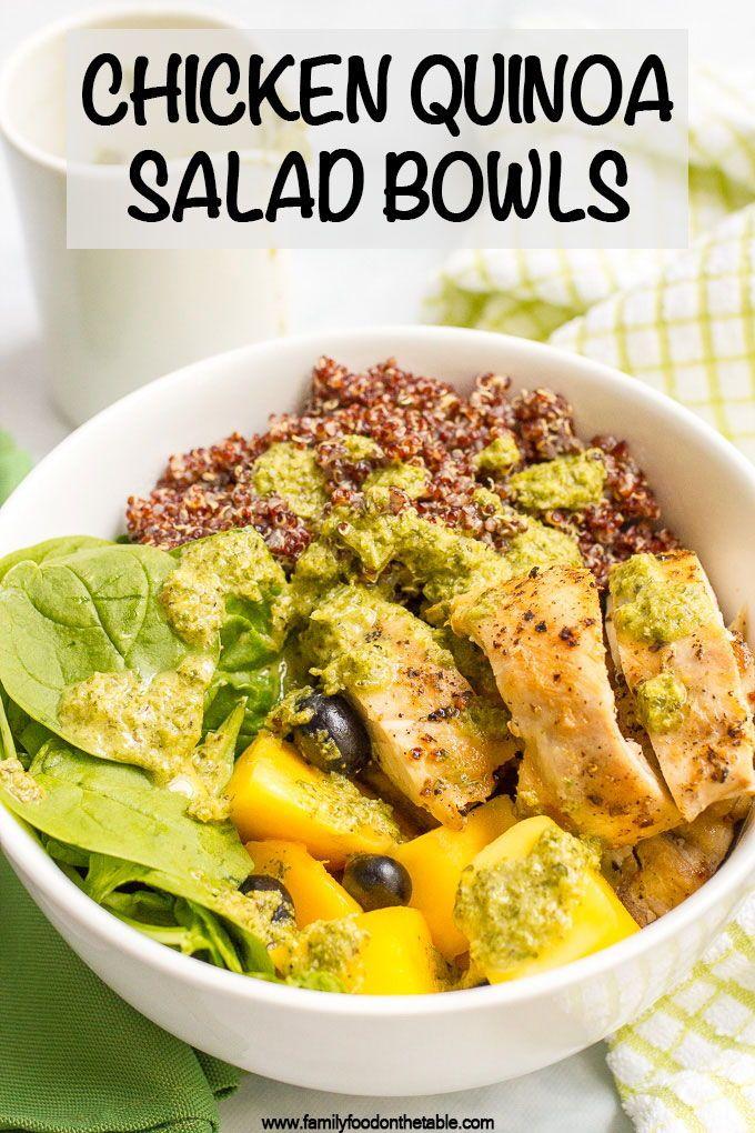 Chicken Quinoa Salad Bowls Family Food On The Table Recipe Chicken Quinoa Salad Healthy Chicken Dinner Chicken Quinoa