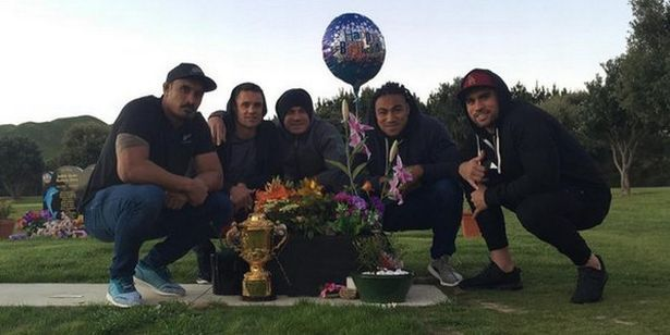 The All Blacks took time out of their World Cup celebrations to visit Jerry Collins' grave