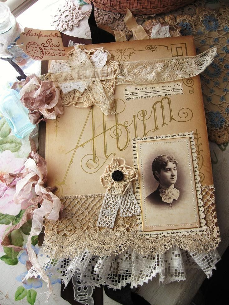 """""""I used the inside cover of a Victorian photo album for this one... it inspired this journal!"""" quote from the designer"""