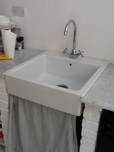 Ikea Domsjo Ceramic White Sink With Ikea Edsvik Kitchen