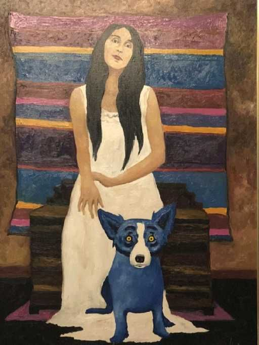 """Lot: GEORGE RODRIGUE """"SHE ADDED COLOR TO MY LIFE"""" OIL, Lot Number: 0125A, Starting Bid: $80,000, Auctioneer: Lewis & Maese Antiques, Auction: Fine Art & Antiques Estate Auction, Date: February 10th, 2018 EST"""