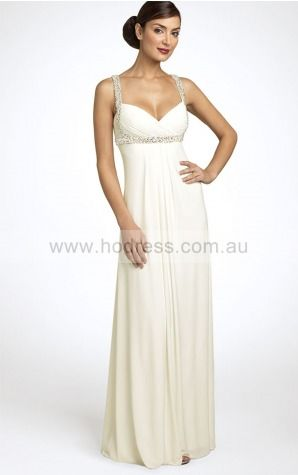 Sleeveless None Shoulder Straps Floor-length Chiffon Evening Dresses dt00314--Hodress