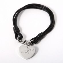 US $5.36 Personalized Leather Bracelet With Stainless steel Key And Heart Charms Custom Engraved Initials Cowhide Bracelets Name Gifts. Aliexpress product