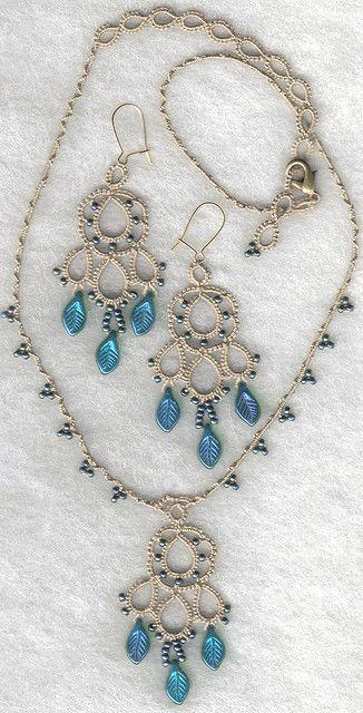 Dream necklace set by Yarnplayer on Flickr: Original design, free pattern available at my blog yarnplayertats.blogspot.com/