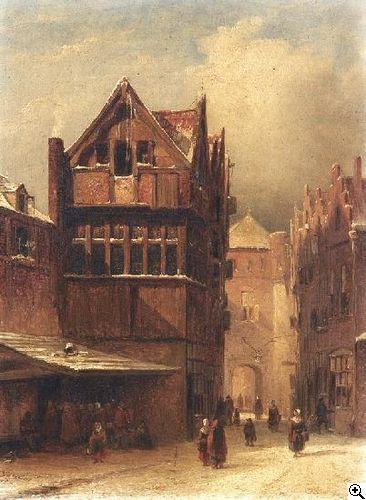 Petrus Gerardus Vertin - Winter in de straten van Den Haag