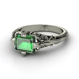 Acadia Ring, Emerald-Cut Emerald Platinum Ring from Gemvara