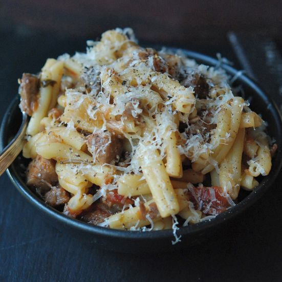 Pasta with Braised Pork, Red Wine and Pancetta Recipe - Andrew Zimmern | Food & Wine