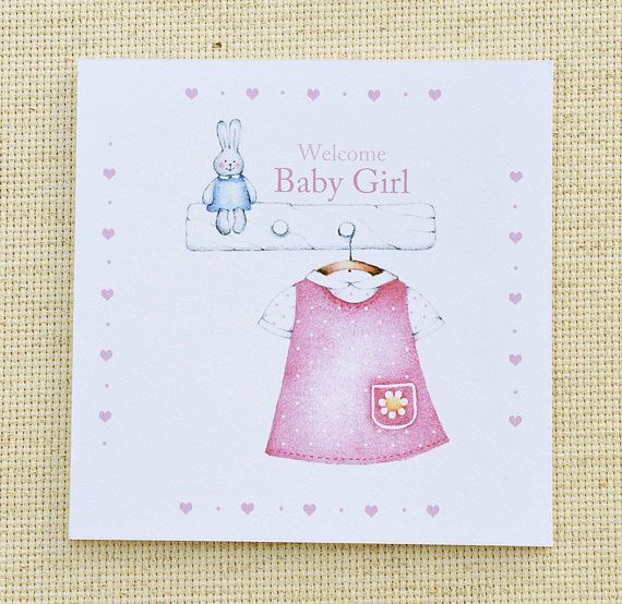 Welcome Baby Girl Card Cute Baby Card Customized Baby Card