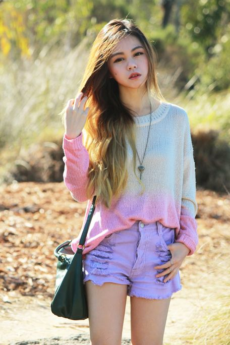 Chloe Ting in the Lilac Slasher Flick Cutoff ShortPastel, Sweaters, Dips Dyes, Shadow, Melbourne Fashion, Cute Outfit, Fashion Bloggers, Boots, Cutoffs Shorts