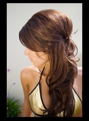 Easy updo - half-up, half-down tied back, but with a little bouffant pouf in there