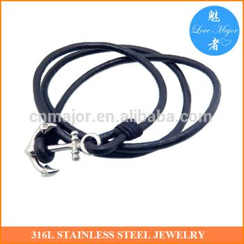 Hot One for All Adjustable Leather Stainless Steel Anchor Bracelet For Boyfriend MJKBB-246