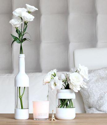 coole streichen idee für DIY Vase in weiß