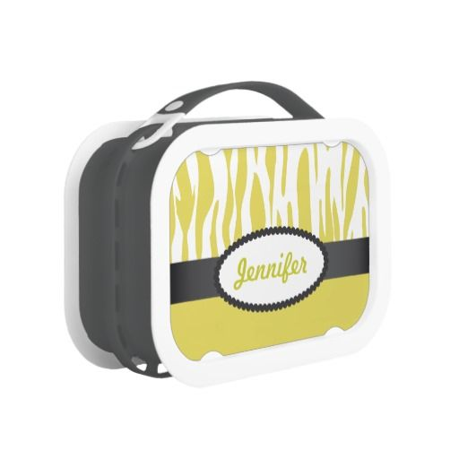 Custom Yellow Zebra Stripes Print Yubo Lunch Box - As seen