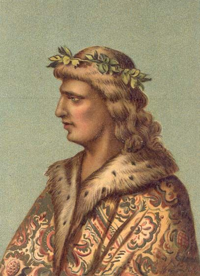Matthias as young monarch (after a contemporary miniature from the Corviniana collection of the British Museum)