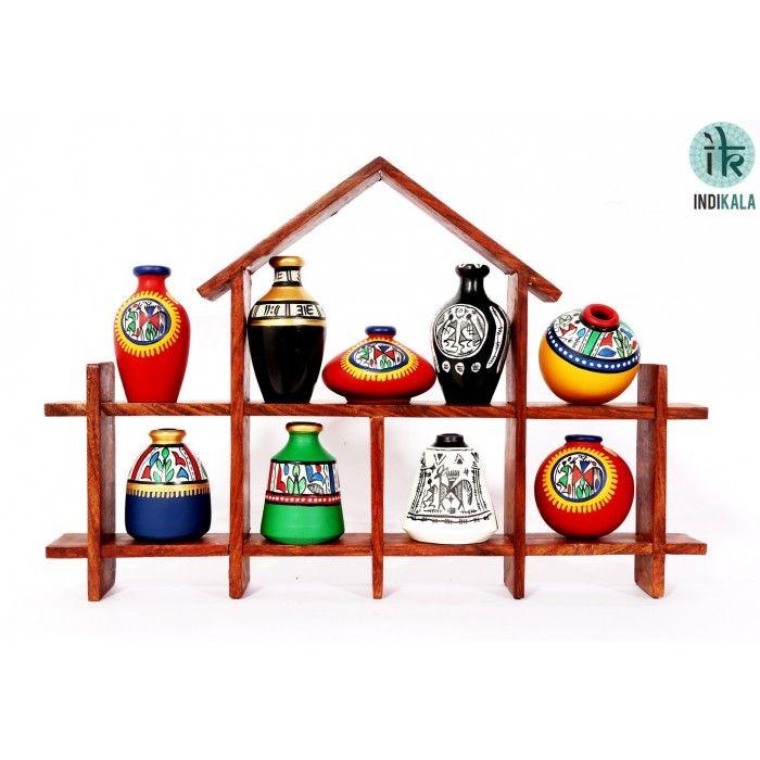 Name : Hut Shaped Frame Unit with Nine Elegant Pots Price : Rs 1,899/- Buy Now at : http://www.indikala.com/hut-shaped-frame-unit-with-nine-elegant-pots.html #Handmade #Handicraft #Pots