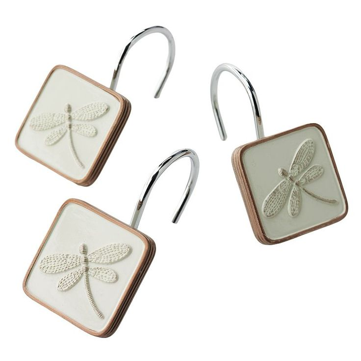 Home Classics® Shalimar 12-pk. Dragonfly Shower Curtain Hooks, Lt Beige