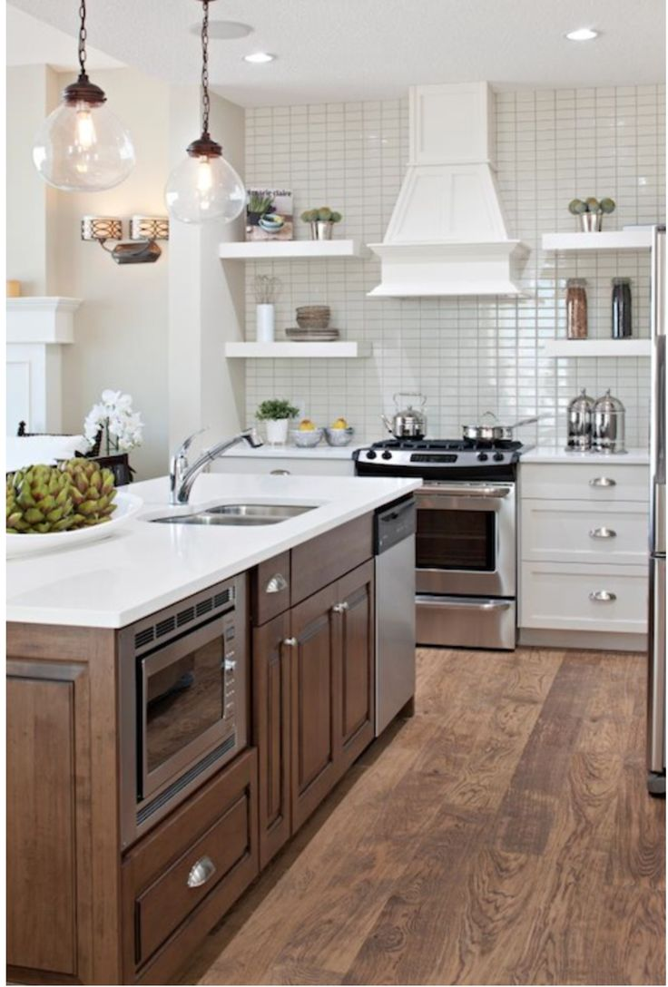 White Cabinets with Medium Stained Island in 2020 (With ...