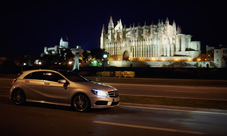 The new A-Class in front of the floodlit cathedral in Palma de Mallorca.