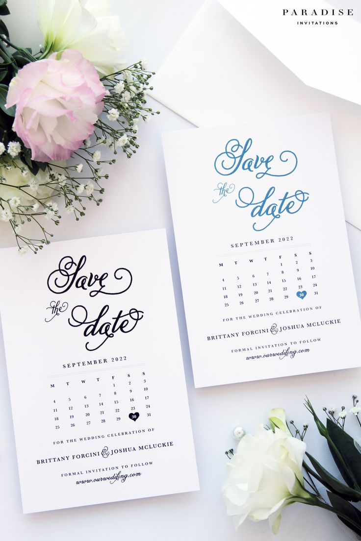 Brianna Sea Wave and Black Ink Save the Date Cards, Modern Calligraphy Calendar Save the Date Cards, Beach Wedding Save the Date Cards