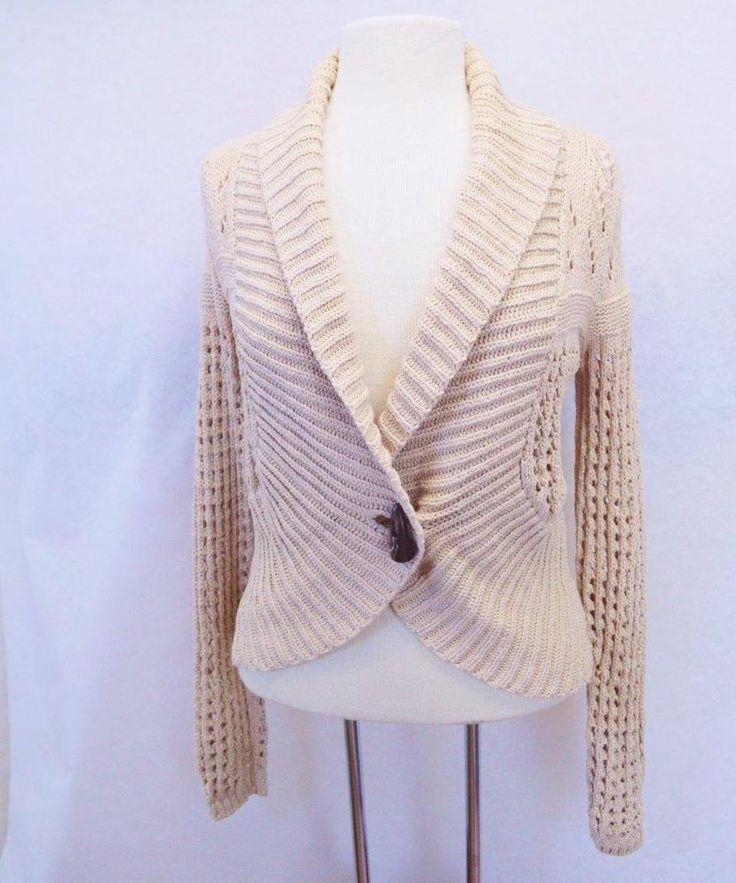 Ruff Hewn L 1 Button Cardigan Sweater Beige Pointelle Knit Shawl Collar L/S #RuffHewn #Shrug
