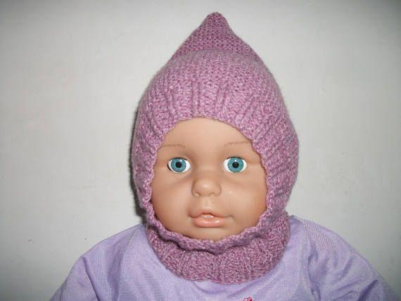 Cagoule/béguin rose pour bébé 6/12 mois en tricot