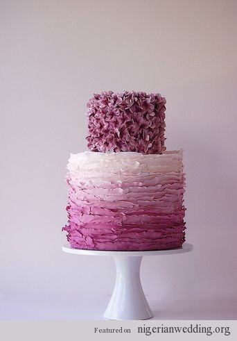 Nigerian Wedding Trends: 23 Simply Rich, Ribboned, & Radiant Ruffled Ombre Wedding Cake Ideas