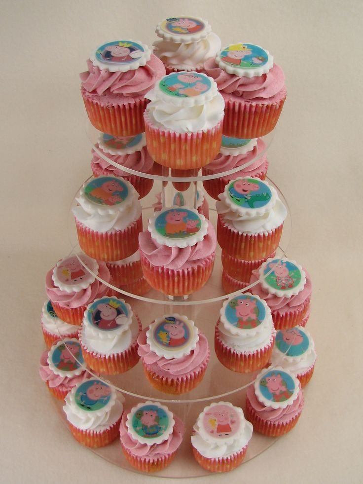 15 Vanilla cupcakes and 15 Strawberry cupcakes with Peppa Pig images on top.