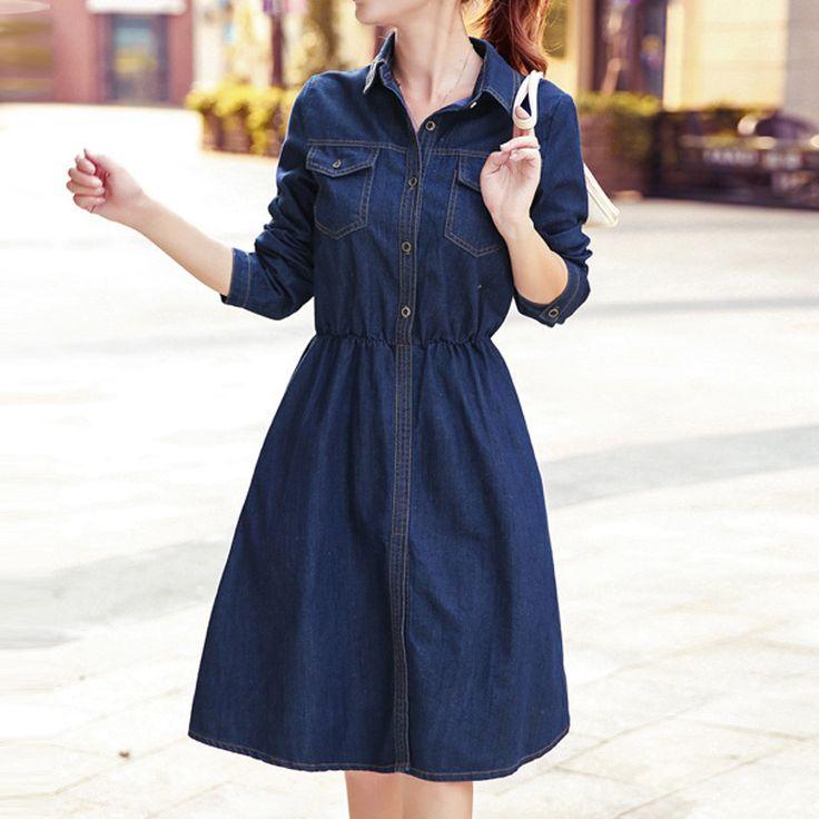 Vintage Women Long Denim Dress Vintage Long Sleeve Ladies Denim Dresses Women's