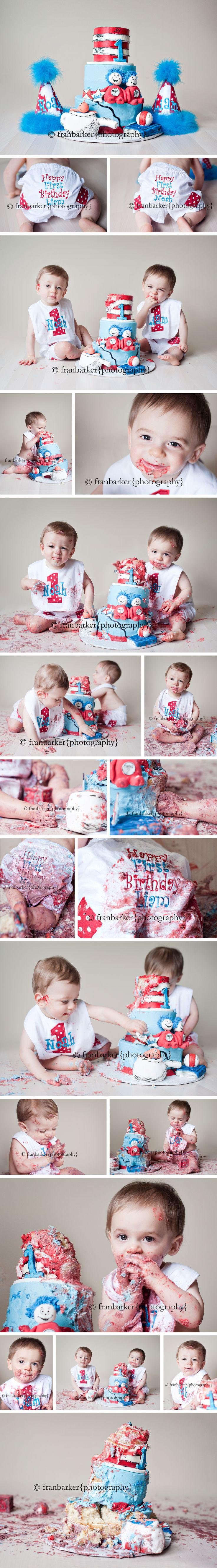 we need to get them eating the smash cake on camera like this. and we need cute bibs for each
