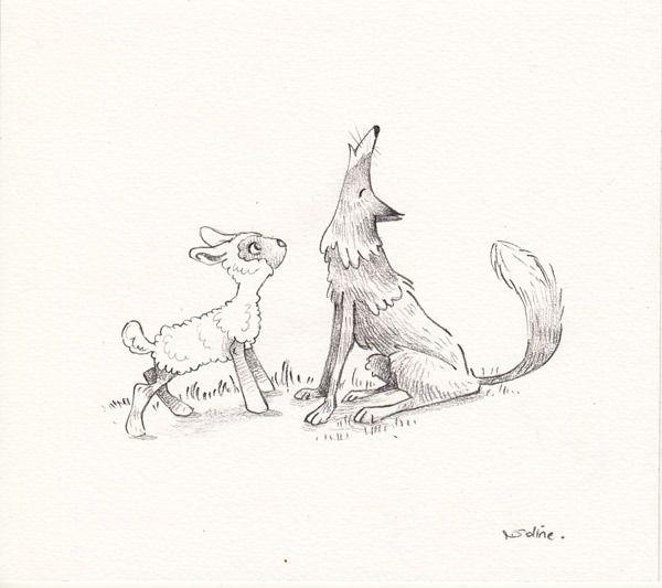 Illustration originale le loup et l 39 agneau au crayon - Dessin loup et agneau ...