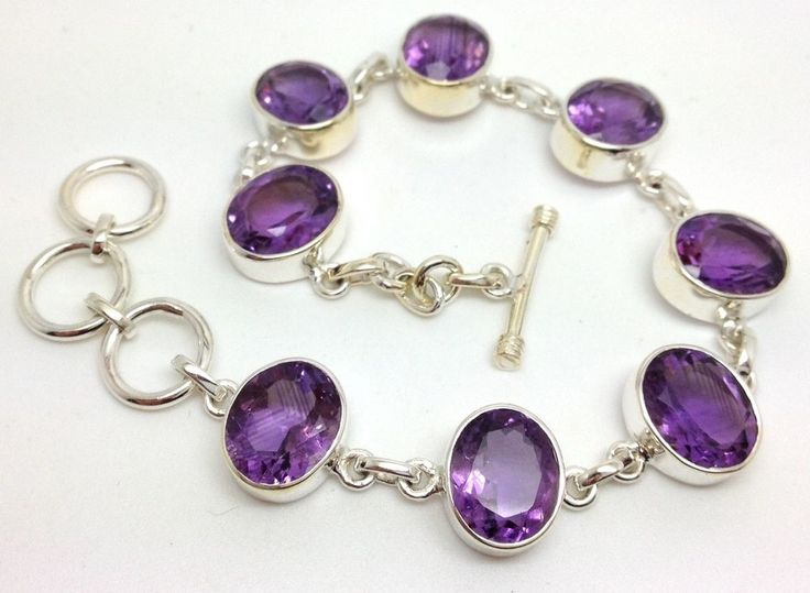 Solid Sterling Silver amethyst oval gemstone faceted bracelet. Actual one shown. Approx size of stones 11 x 8mm. | eBay!