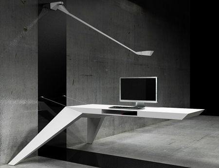 "Bulgarian studio Bozhinovskidesign have created a cantilevered desk suspended from the wall by steel cables. Called E.L.A, the desk is made of fibreglass. Cables for a computer can be passed through apertures in the end and sides, and a flap in the underside provides storage. ""The idea was that the desk flies on the air,"" …"