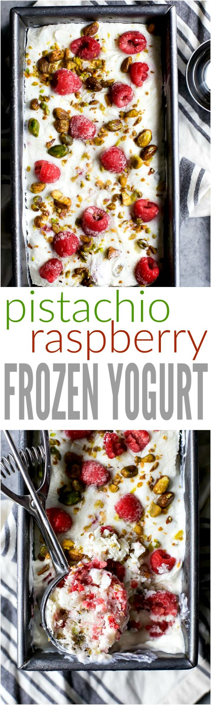 Healthy 5 Minute Pistachio Raspberry Frozen Yogurt - it's healthy, sweet, delicious, and so easy to make. The perfect way to satisfy that sweet tooth! | gluten free recipes