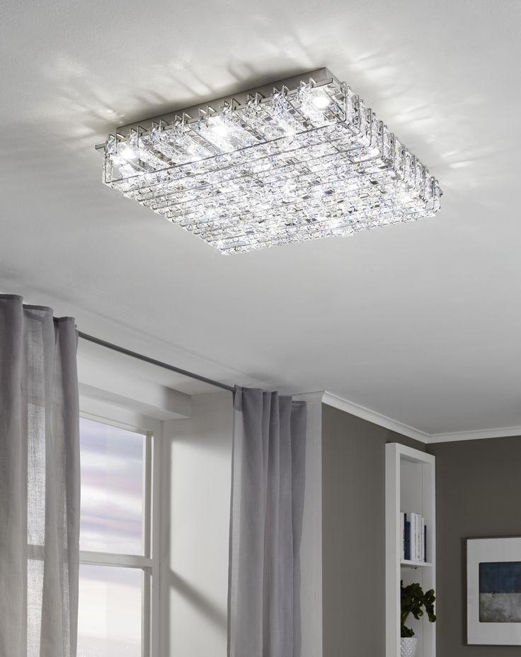 Eglo Lighting / Lonzaso / LED Polished Chrome & Crystal Modern Square Flush Light
