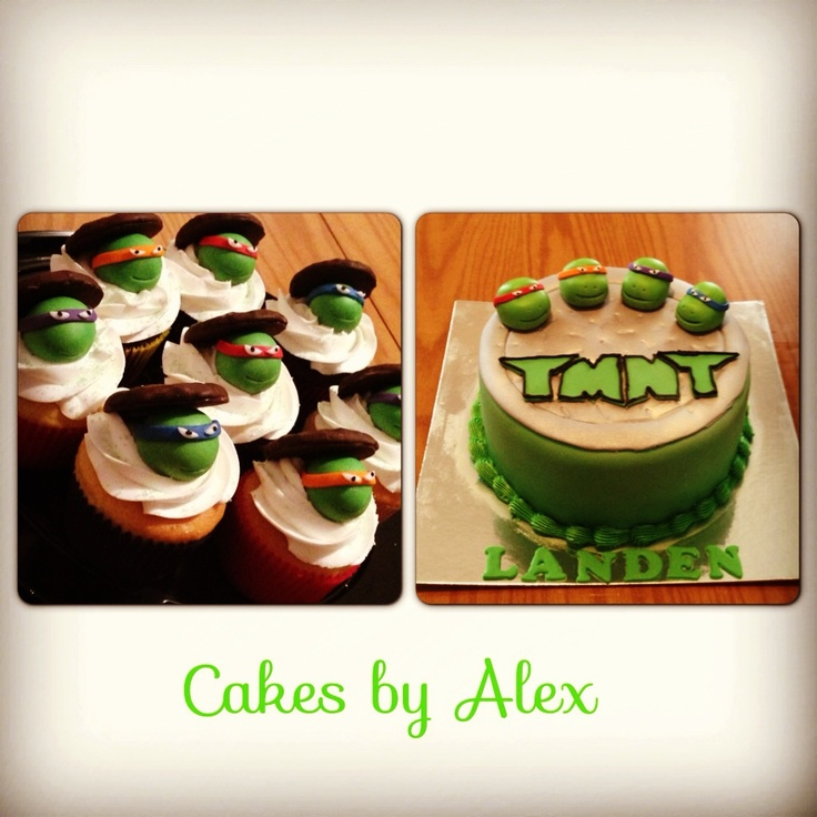 TMNT birthday cake and cupckaes