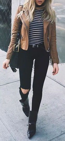 Hot fall outfit ideas that anyone can wear teen girls or women. The ultimate fall fashion guide for high school or college. Super simple outfit with jeans and ankle boots and a motorcycle jacket a classy look for autumn.