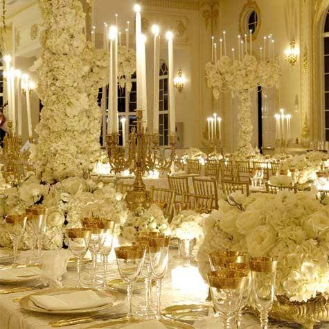 gorgeous!!: White Flowers, All White, White Wedding, Flowers Centerpieces, Colors Schemes, Wedding Reception, White Gold, Preston Baileys, Gold Wedding