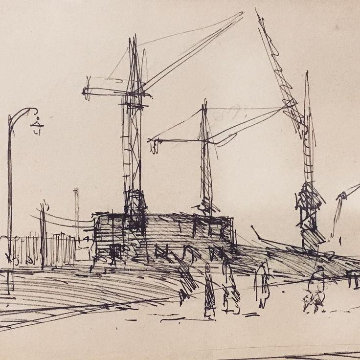 Lata 50. Teraz nowohucki krajobraz wygląda podobnie? Ostatnie 5 dni wystawy rysunków Eugeniusza Muchy  #encek #kulturakrk #rysunek #galeriacentrum #mucha #nowahuta #nh #krajobraz