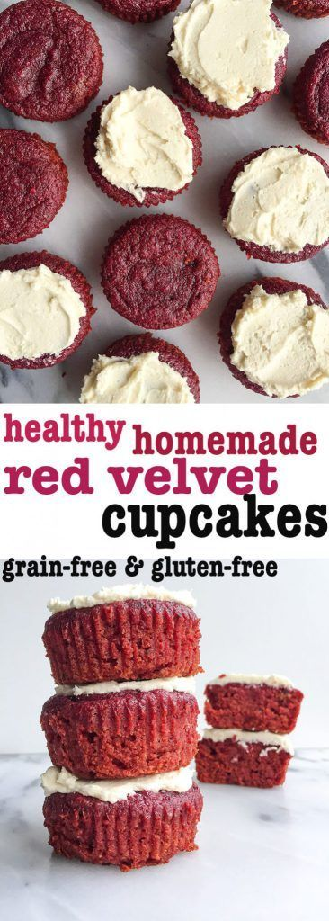 Healthy Homemade Red Velvet Cupcakes! Grain free and dairy free cupcakes homemade and so delicious. Red velvet, chocolatey and have a hidden veggie - BEETS! Beet dessert for the win!