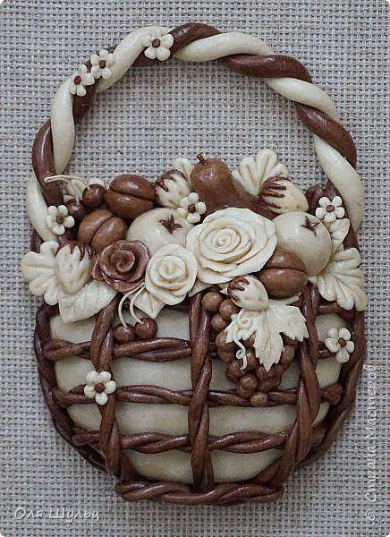 Картина панно рисунок Лепка корзинка с фруктами  Материал природный Тесто соленое фото 2
