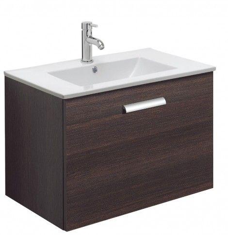 Design Plus 70 Drawer Unit & Ceramic Basin Panga in Dark Wood Tones | Bauhaus Bathrooms - Furniture, Suites, Basins - Ultimate Bathroom Solu...