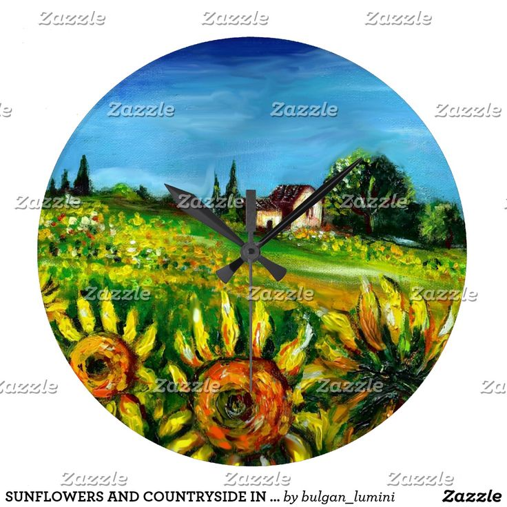 SUNFLOWERS AND COUNTRYSIDE IN TUSCANY LARGE CLOCK #fineart #landsape #fields #nature #beauty #flowers #rustic #decor