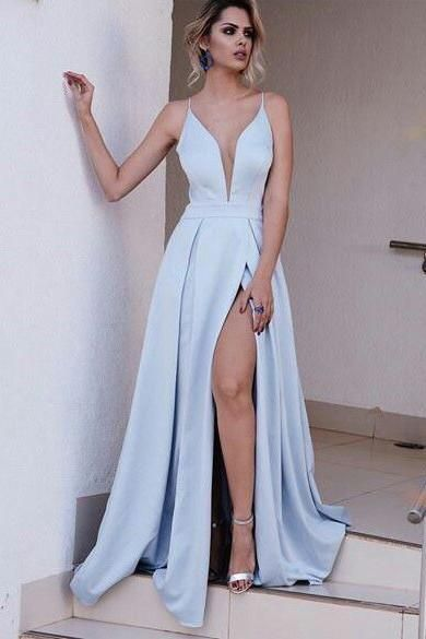 Light Blue Spaghetti Split Prom Dresses 2017 Long Sexy A Line Evening Gowns OK112