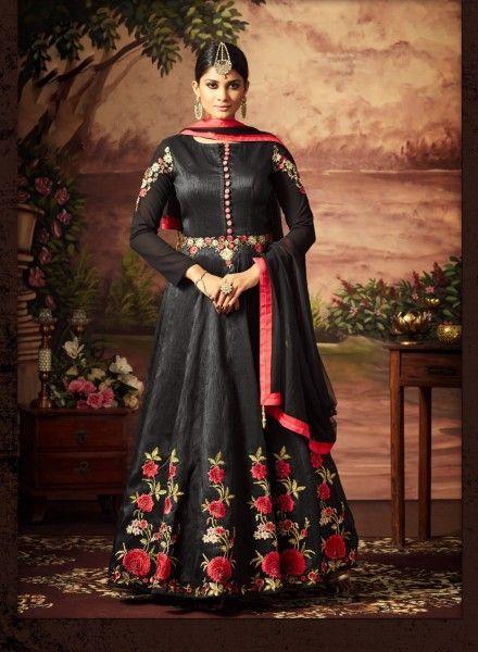 a93ece2e56 Cocktail party wear black anarkali shalvar kameez in art silk in ...