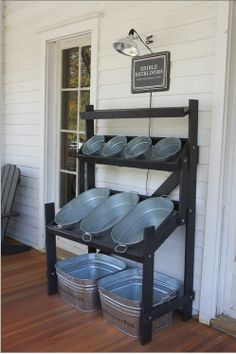 outdoor storage for toys or cookout supplies (napkins, cutlery, drinks, condiments) or shop display