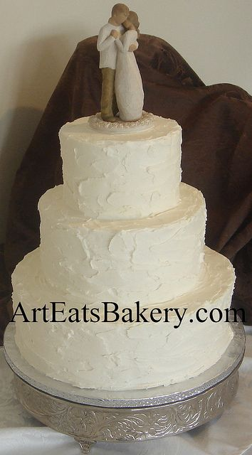 3 tier white stucco butter cream romantic elegant wedding cake with Willow Tree Bride and Groom topper | Flickr - Photo Sharing!