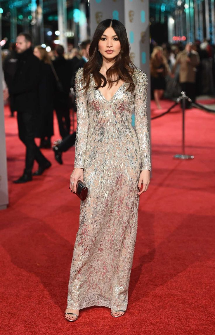 Gemma Chan in Jenny Packham. Photo: Ian Gavan/Getty Images.